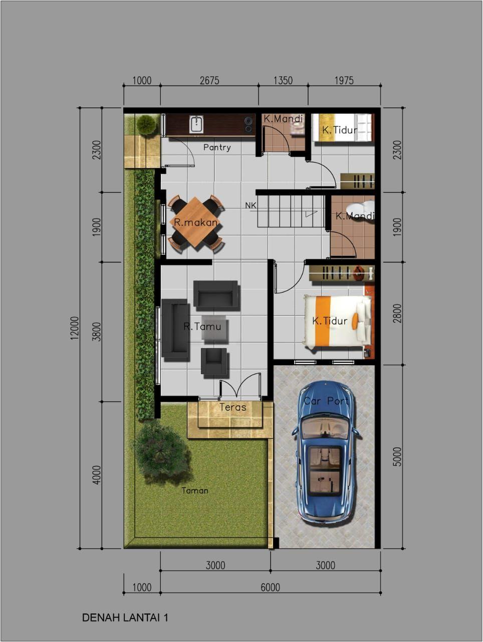 Tipe Rumah Amethyst - denah lt 1